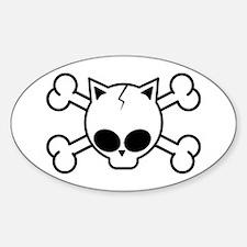 Cute Kawaii cat Sticker (Oval)