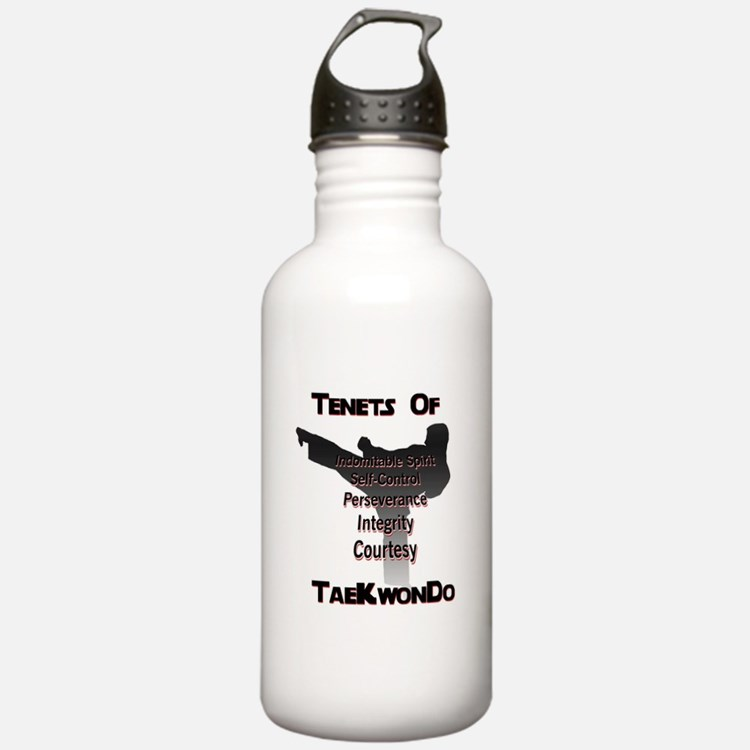 Traditional Taekwondo Tenets Water Bottle 1.0 Stai