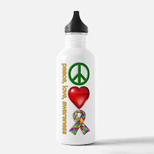 Peace, Love, Awareness Water Bottle