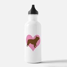 french bulldog & heart Water Bottle