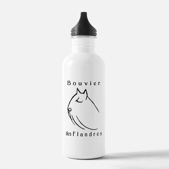 Bouvier Head Sketch w/ Text Water Bottle