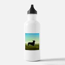 corgi in a field Water Bottle