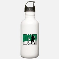 Green & White Hockey Logo Water Bottle
