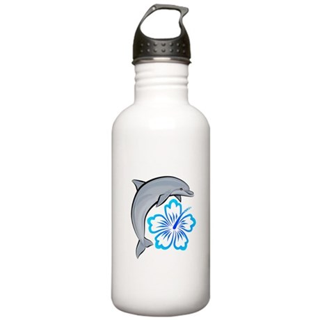 Dolphin Hibiscus Blue Stainless Water Bottle 1.0L