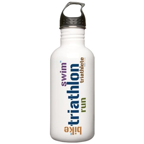 Triathlon Text Stainless Water Bottle 1.0L