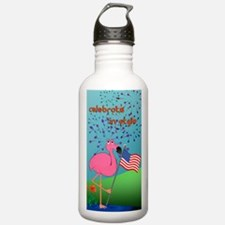 4th of July Flamingo Water Bottle