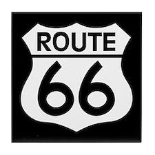 Route 66 Highway Sign Biker Tile Coaster