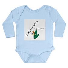 Green Party Long Sleeve Infant Bodysuit