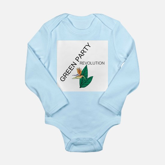 Green Party Long Sleeve Infant Bodysuit