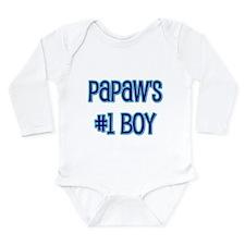 Papaw's #1 Boy Long Sleeve Infant Bodysuit