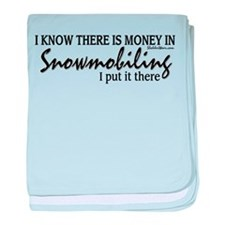 Money in Snowmobiling baby blanket