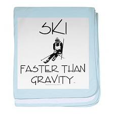 Ski Faster Than Gravity baby blanket