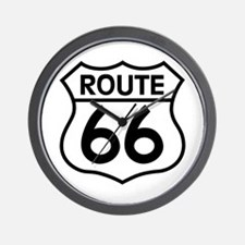 Route 66 Highway Sign Biker Wall Clock