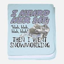 Blah blah blah Snowmobile baby blanket