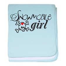 Snowmobile Girl baby blanket