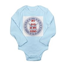 Dad Hero Red, White & Blue Long Sleeve Infant Body