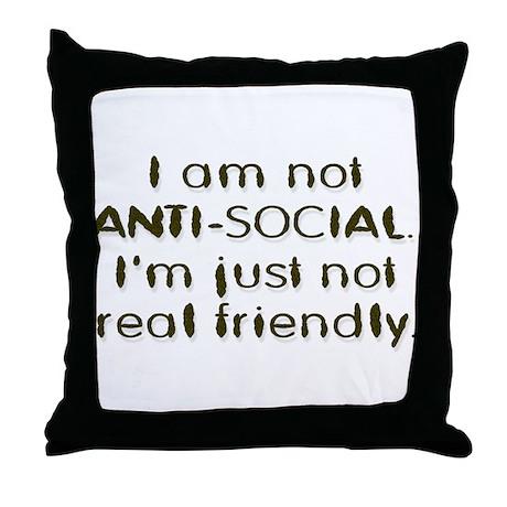 Anti-Social Throw Pillow