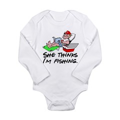 She Thinks... Long Sleeve Infant Bodysuit