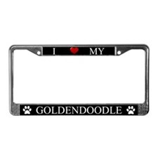 Black I Love My Goldendoodle License Plate Frame