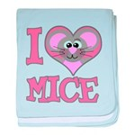 I Love (Heart) Mice Infant Blanket