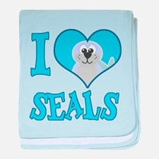 I Love (Heart) Seals Infant Blanket