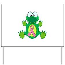 Pink Awareness Ribbon Frog Yard Sign