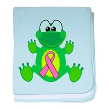 Pink Awareness Ribbon Frog Infant Blanket