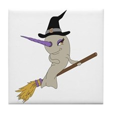 Witch Narwhal Tile Coaster