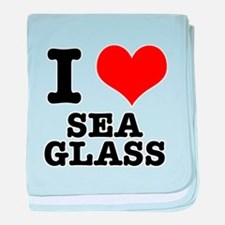 I Heart (Love) Sea Glass Infant Blanket