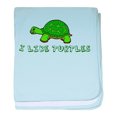 I Like Turtles baby blanket