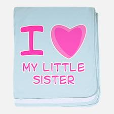 Pink I Heart (Love) My Little Infant Blanket