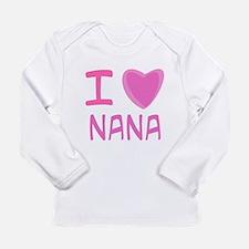 Pink I Heart (Love) Nana Long Sleeve Infant T-Shir