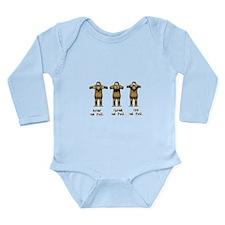 Hear No Evil Monkeys Long Sleeve Infant Bodysuit