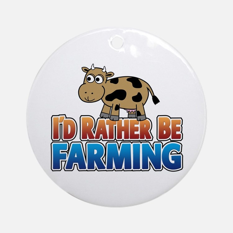 Farmville Inspired Cow Ornament (Round)