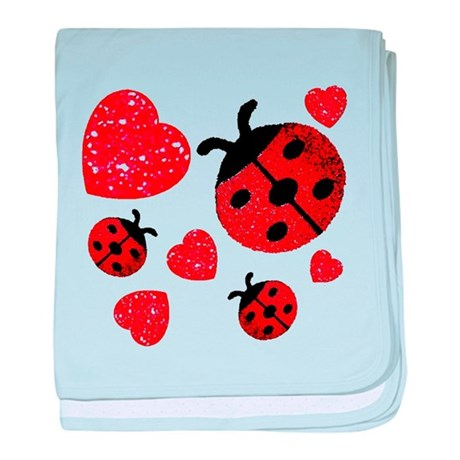 Lady Bugs and Hearts Valentin Infant Blanket