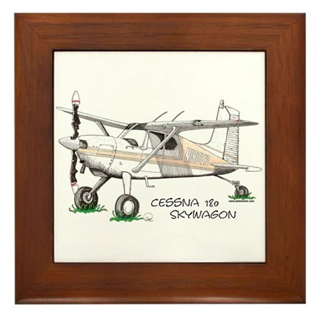 Cessna 180 Skywagon Framed Tile