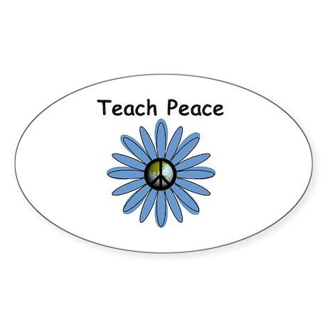 Teach Peace Oval Sticker