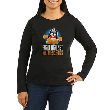 MS Boxing Penguin Women's Long Sleeve Dark T-Shirt