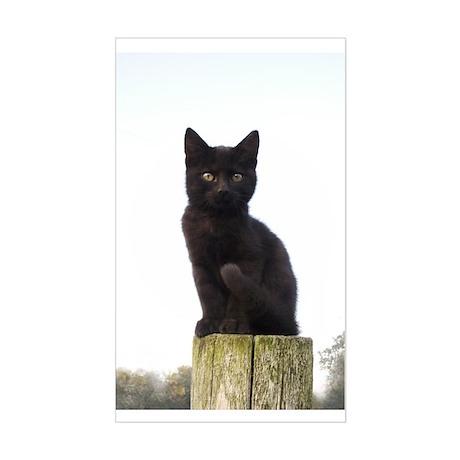 Black Kitty Rectangle Sticker