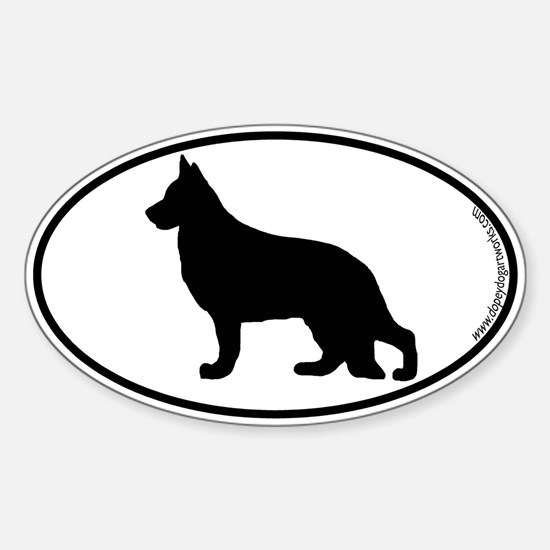 German Shepherd SILHOUETTE Oval Decal