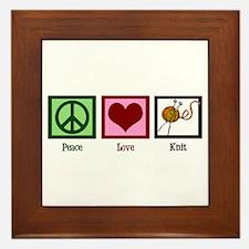 Peace Love Knit Framed Tile
