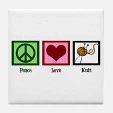 Peace Love Knit Tile Coaster
