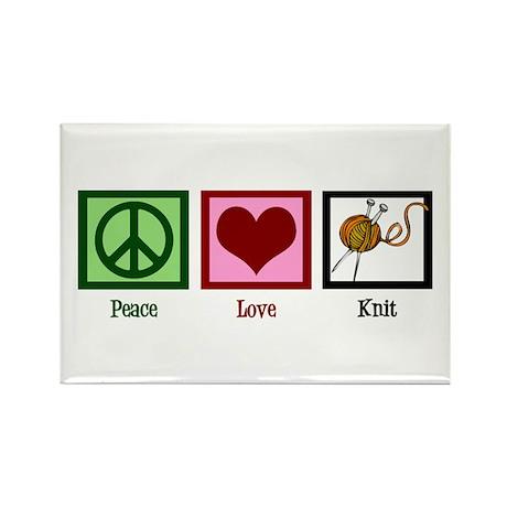 Peace Love Knit Rectangle Magnet