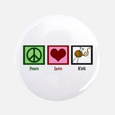 "Peace Love Knit 3.5"" Button"