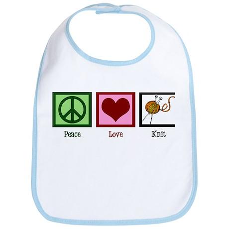 Peace Love Knit Bib
