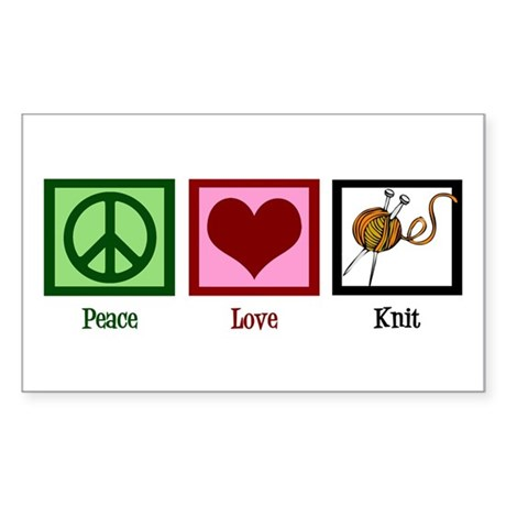 Peace Love Knit Sticker (Rectangle)