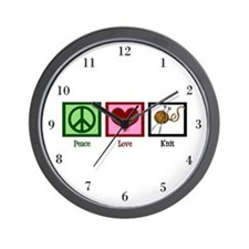 Peace Love Knit Wall Clock