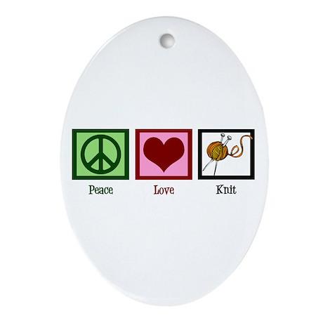 Peace Love Knit Ornament (Oval)
