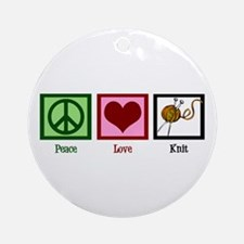 Peace Love Knit Ornament (Round)