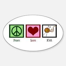 Peace Love Knit Sticker (Oval)